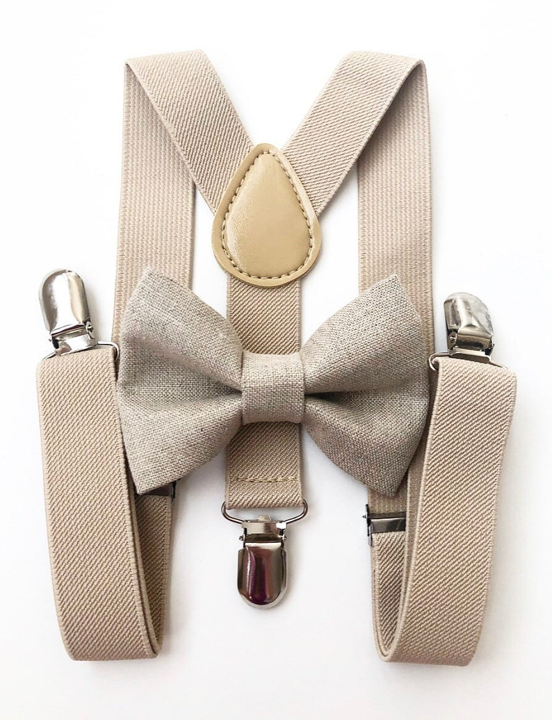 Tan suspenders and tan linen bow tie bow tie suspenders image 0