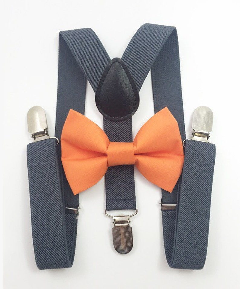 Dark gray suspenders Orange Bow tie bow tie suspenders image 0