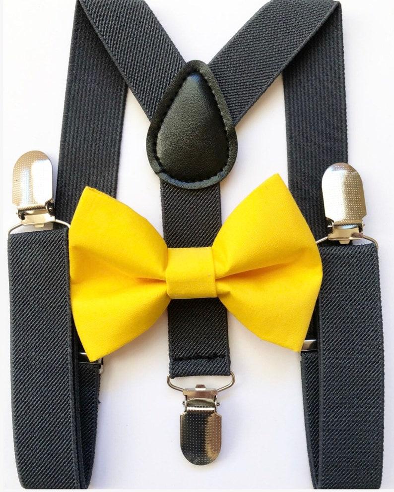 Dark gray suspenders Yellow Bow tie bow tie suspenders image 0