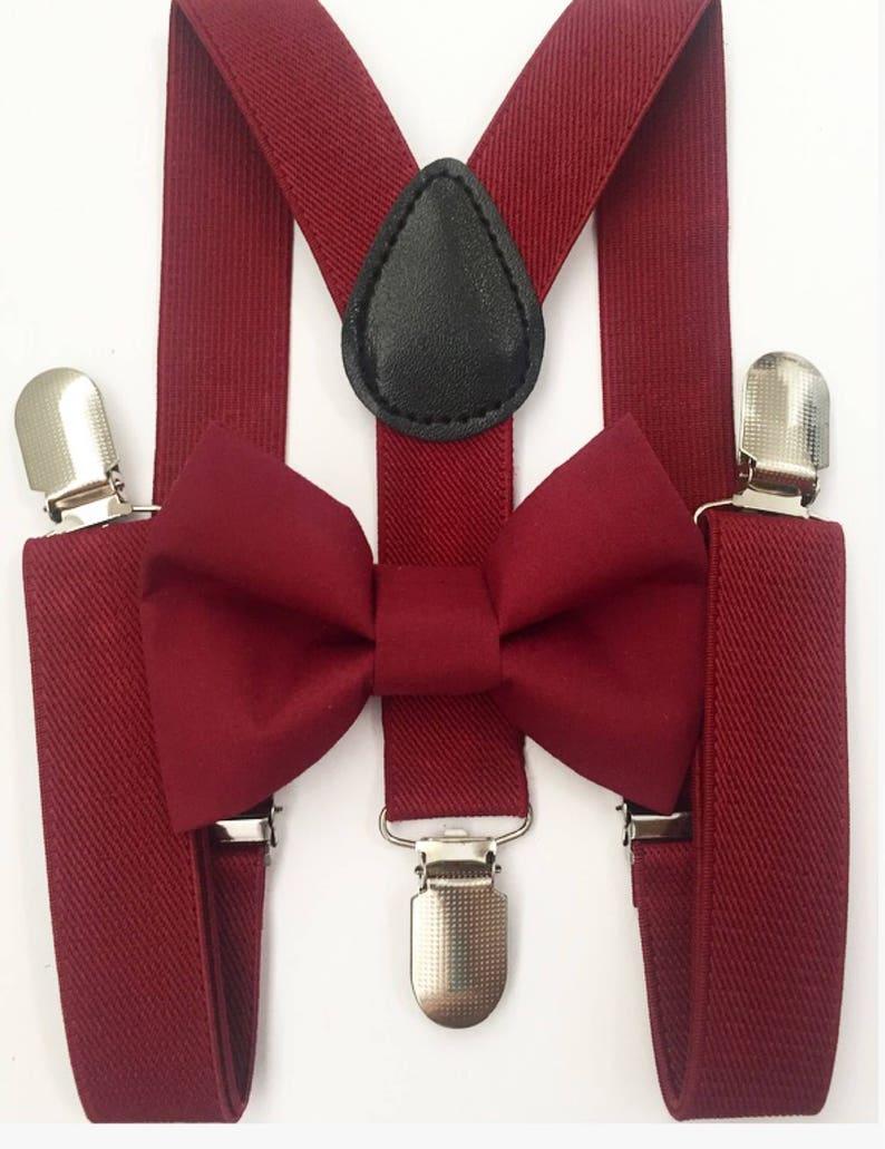 Burgundy Suspenders  burgundy bow tie bow tie suspenders image 0