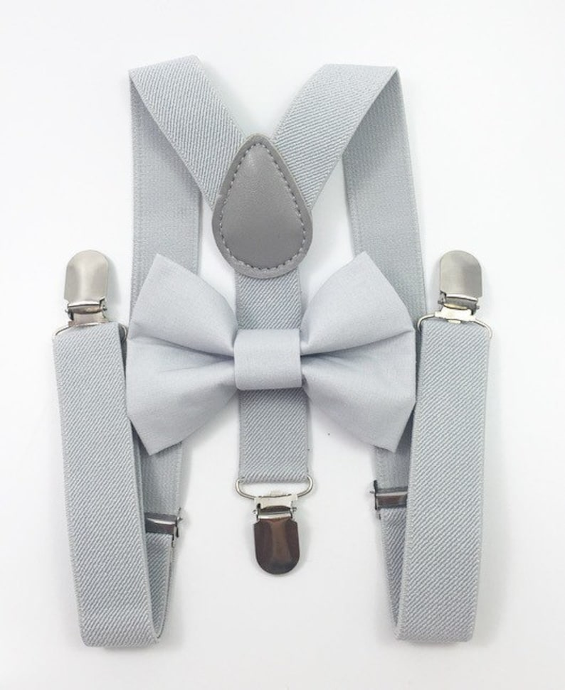 Light gray suspenders and gray bowtie set bow tie image 0