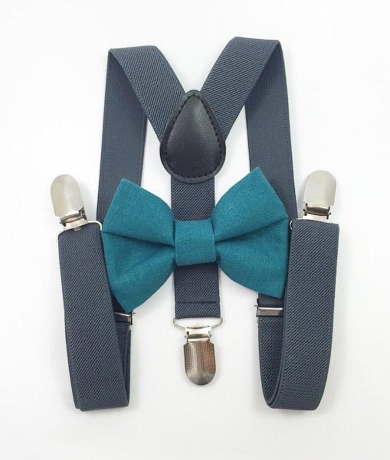 Dark gray suspenders Teal Bow tie bow tie suspenders boys image 0