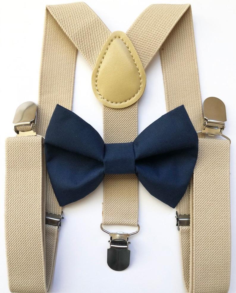 Tan suspenders navy blue bow tie bow tie suspenders boys image 0