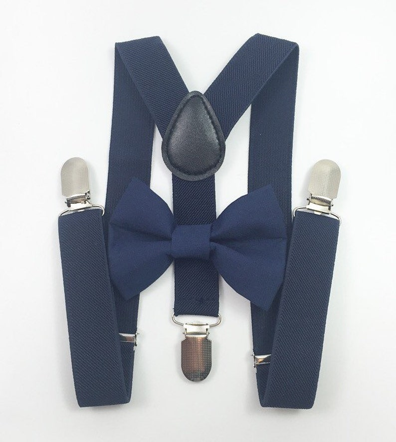 Navy blue Suspenders navy blue bow tiebow tie suspenders image 0