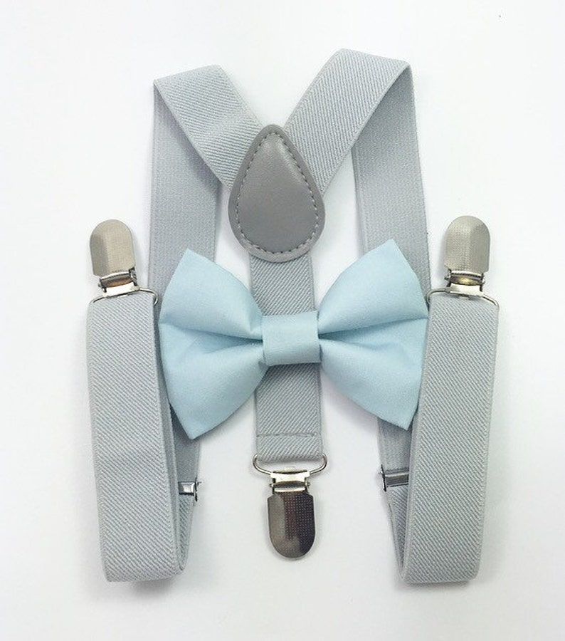 Light gray suspendersLight Blue Bow tie bow tie suspenders image 0
