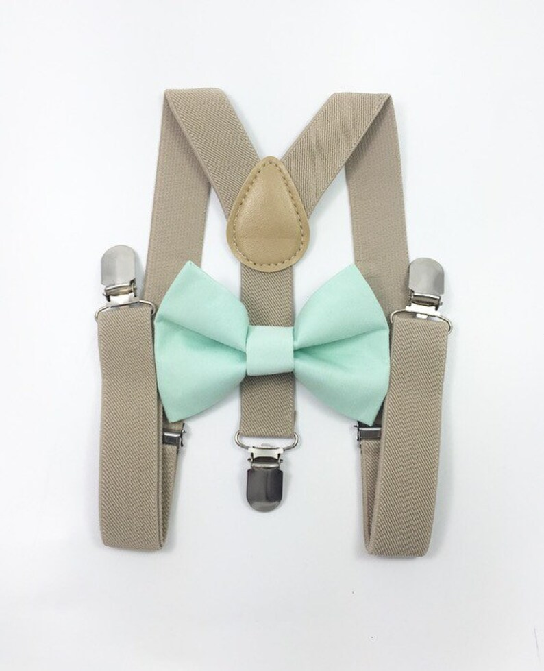 Tan suspenders and mint bow tie bow tie suspenders boys image 0
