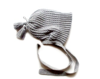 Babies/Children's double knitted merino wool hat/bonnet hat/chunky hat/thick/pink/blue/gray