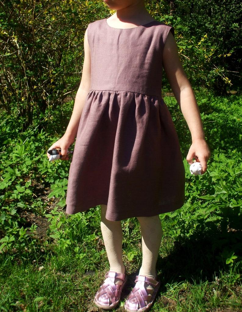 Girl/'s linen sleeveless dresslinen dresslinen clothing