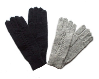 Family set - Men's and Women's Knitted lambswool gloves/winter mittens/woolen gloves/cable knit/gray