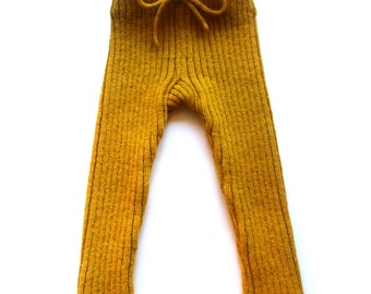 Babies/Children's knitted lambswool Pants/leggings/toddlers/wool leggings/longies/natural/2x2 rib/thick/chunky/trousers