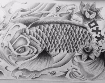 "Koi fish graphite pencil drawing print  11"" x 14 """