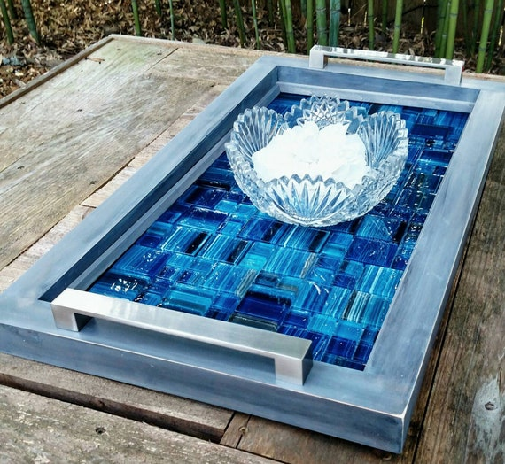Aqua Mosaic Towel Holder Vanity Hand Made Tray Mother of Pearl Stainless Steel