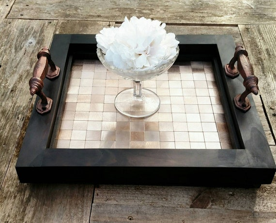 Phenomenal Serving Tray Ottoman Tray Vanity Table Centerpiece Brown Wood Copper Metal Mosaic Tile Free Shipping Handmade 15X15 Iron Handles Inzonedesignstudio Interior Chair Design Inzonedesignstudiocom