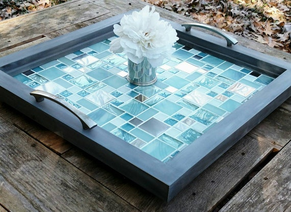 Brilliant Ottoman Serving Tray Table Grey Wood Frame Blue Glass And Metal Mosaic Tile Free Shipping Brushed Nickel Handles Handmade 20 Square Bralicious Painted Fabric Chair Ideas Braliciousco