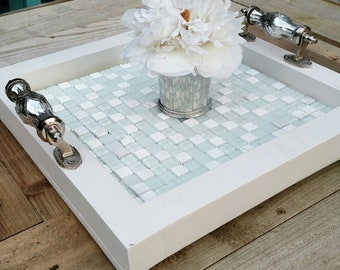 """Serving Tray-Wood-White Stone and Soft Seafoam Green Mosaic Tile-15"""" Square-Glass Handles-White Finish-Ottoman Tray-Contemporary"""