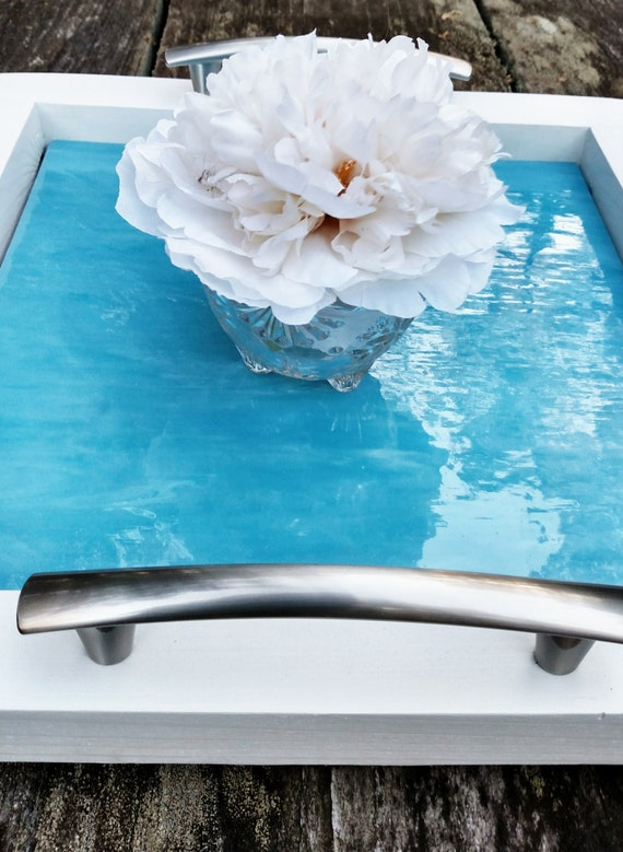Decorative Serving Tray Wood Light Blue Art Glass Brushed | Etsy
