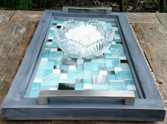 Sensational Serving Tray Medium Wood And Blue Glass And Metal Tile With Brushed Nickel Handles Grey Finish Handmade 27X15 Ottoman Tray Contemporary Inzonedesignstudio Interior Chair Design Inzonedesignstudiocom