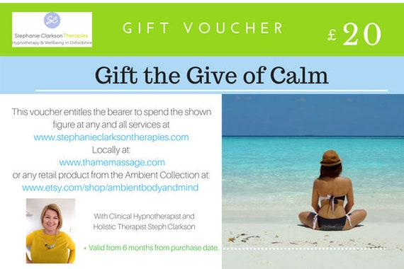 a67830fa95ceb Twenty pound gift voucher for Ambient Body and Mind on Etsy or Stephanie  Clarkson Therapies