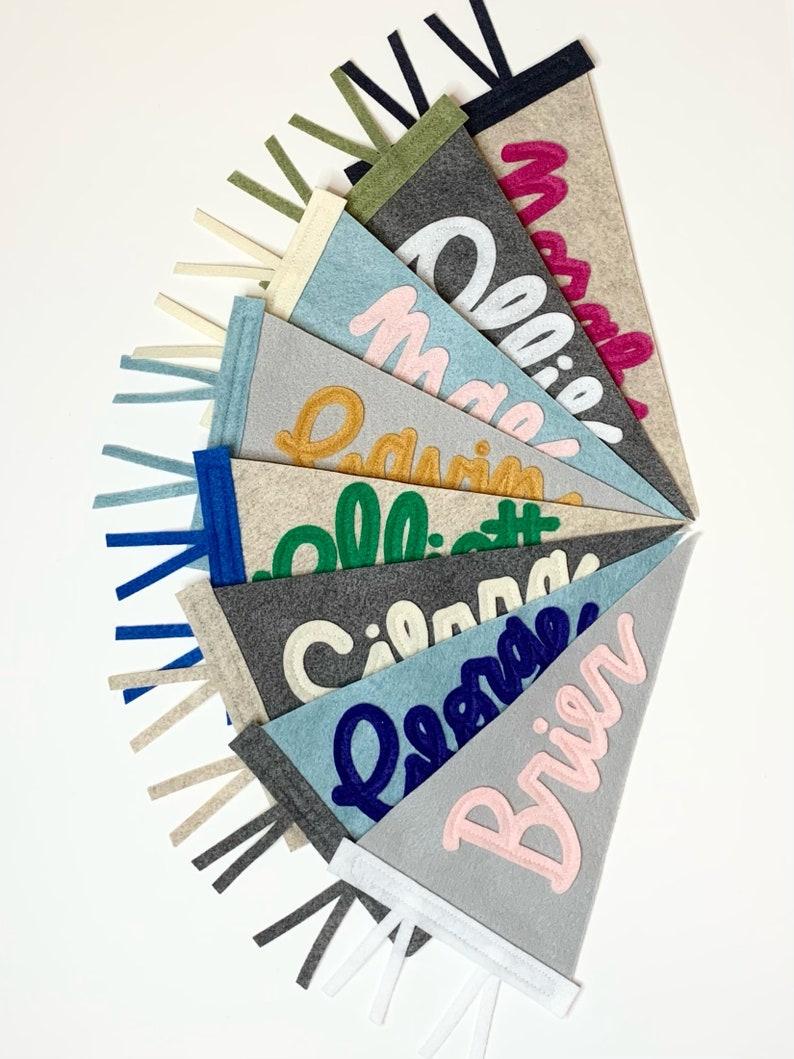 Name Banner Newborn Gift for Kids Room or Nursery MINI Custom Name Pennant Flag Calligraphy Modern Cursive Script Sign