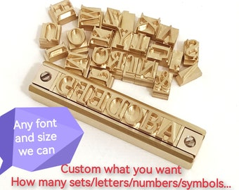 200 Pcs Custom T slot alphabet set Interchange character stamp work on leather Any font and size work on pencel custom letters foil tools