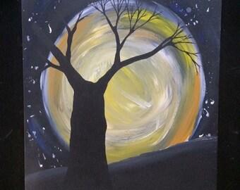 Moon tree painting