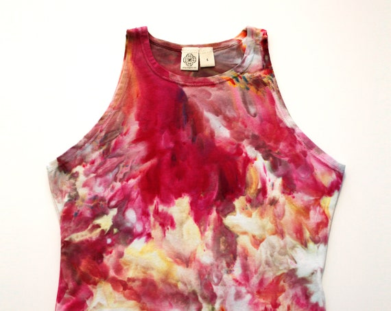 S Fuchsia Floral High Neck Crop Top