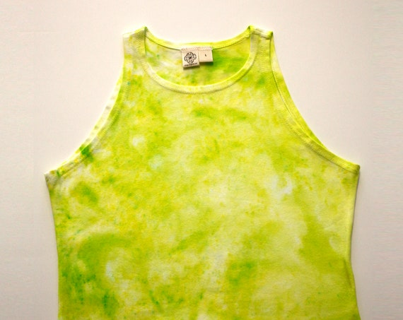 L Slime Green High Neck Crop Top