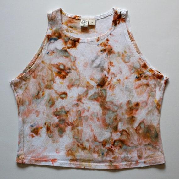 XL Rust & White High Neck Crop Top