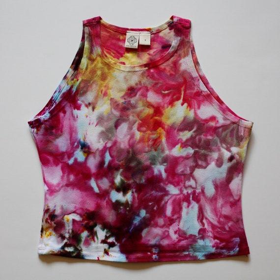 S Floral Pink High Neck Crop Top