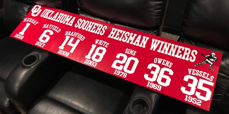 Oklahoma Sooners Football Heisman Trophy Winners Wood Sign Boomer Sooner  Kyler Murray Baker Mayfield Free Shipping Holiday Gift