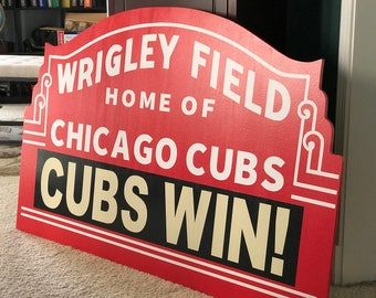 "Chicago Cubs Wrigley Field Marquee | Choose Your Custom Message | 30""x21"" Chicago Sports Wall Art Decor Bar Basement Gift Chicago Baseball"