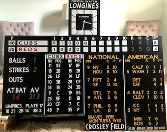 Replica Cincinnati Reds Crosley Field Scoreboard with Working Longines Clock Full Scoreboard Great for Basement Bar Man Cave Fathers Day