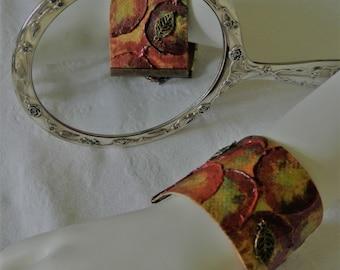Cuff Bracelet Jewellery,  Artwork, Autumn Leaves, Leather,