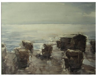 Beach after the rain - Baltic seascape - original watercolor