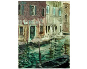 Boats on the channel - Venetian landscape - original oil painting on paper
