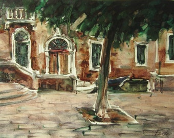 Venetian landscape with tree - original oil painting on paper