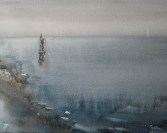 Sea haze - Baltic seascape - original watercolor