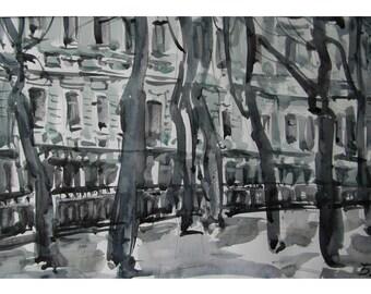 Winter boulevard - original watercolor