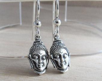 Buddha Earrings, Yoga Jewelry, Sterling Silver Buddha Jewelry, Meditation Buddha Zen, Spiritual Jewelry, Buddhism, Metaphysical Earrings