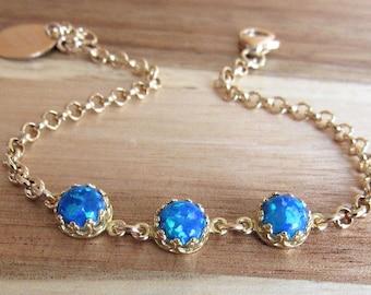 Blue Opal Bracelet, October Birthstone, Bridesmaid Gift, Dainty Blue Bracelet, Minimalist Bracelet, Simple Gold Bracelet, Stacking Bracelet