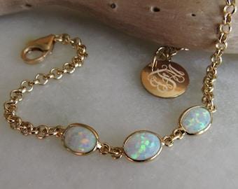 Opal Bracelet in Gold, October Birthstone Gift, White Opal Jewelry, Wedding Jewelry for Brides, Bridesmaid Bracelet Gift, Bezel Set Opals
