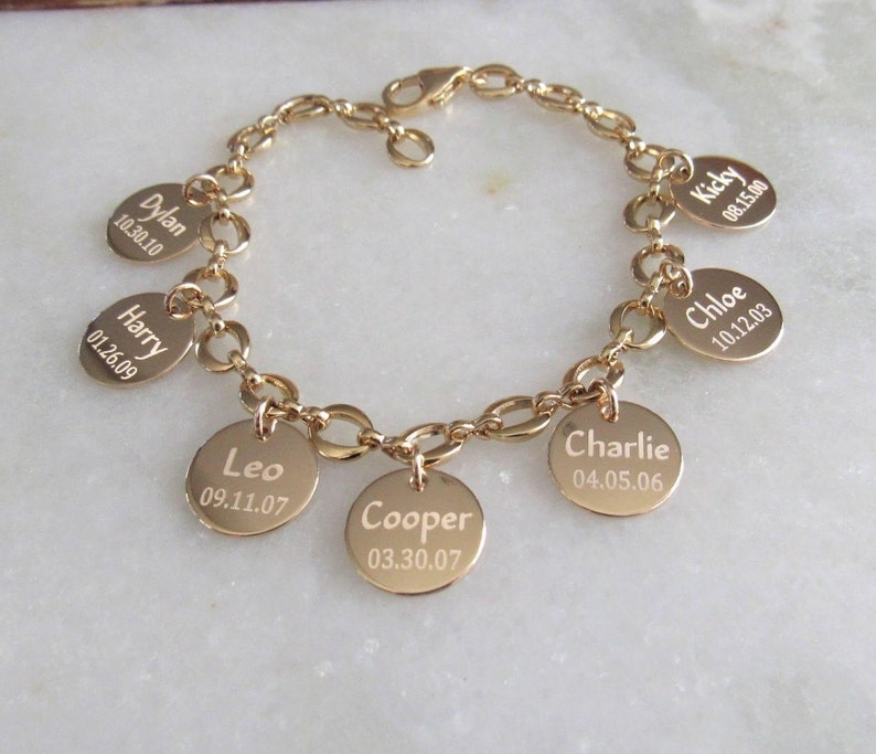 Personalized Charm Bracelet Mothers Day Jewelry in Gold image 0