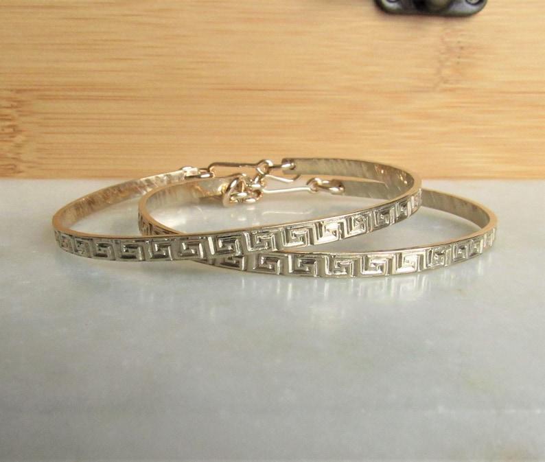 Gold Greek Key Pattern Bracelet Adjustable Personalized image 0