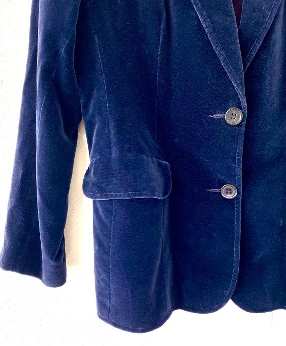 Vintage 70s 80s Velvet Red Blue Blazer Lightweigh… - image 7