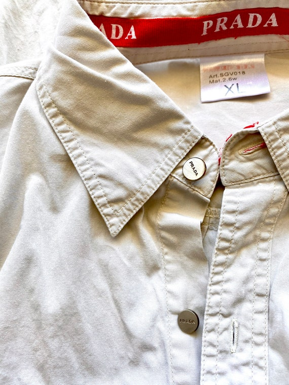 Vintage Prada 90s Minimalist Beige Collared Long … - image 5