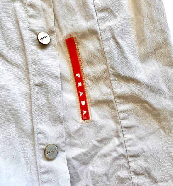 Vintage Prada 90s Minimalist Beige Collared Long … - image 2