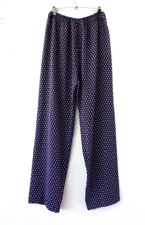 Vintage Diane Fr\u00e9s Anchor Sheer Pajama Pants  Nautical Purple White Sailor Harem Pants