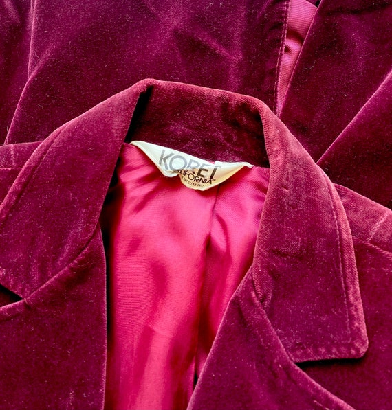 Vintage 70s 80s Velvet Red Blue Blazer Lightweigh… - image 4
