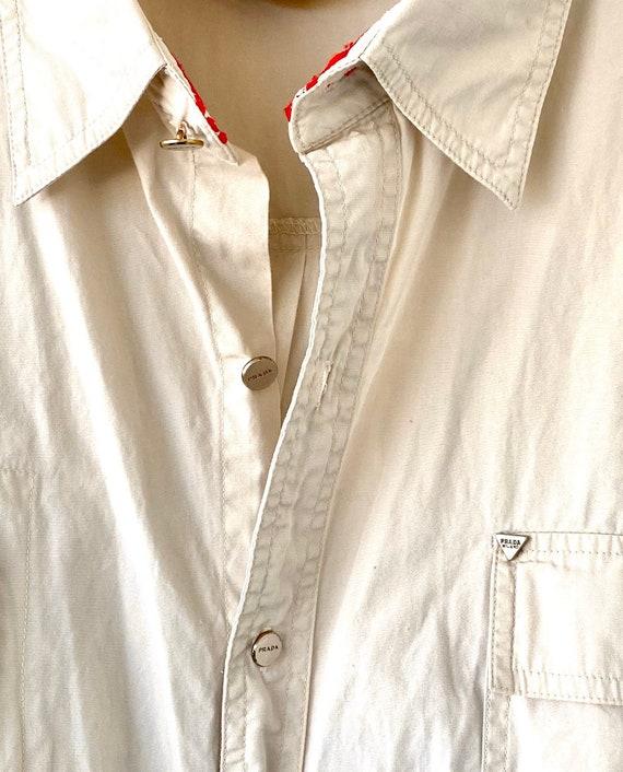 Vintage Prada 90s Minimalist Beige Collared Long … - image 4