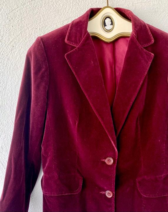 Vintage 70s 80s Velvet Red Blue Blazer Lightweigh… - image 6